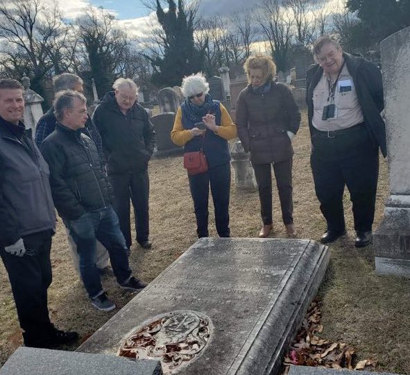 Group at grave